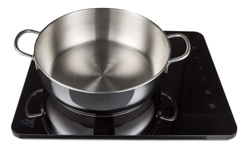 stainless steel pot on cooktop