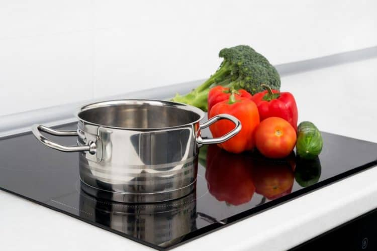 Pot and vegetables on induction cooktop