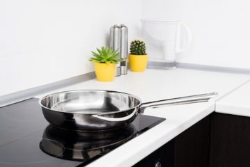 stainless steel frying pan on induction stove