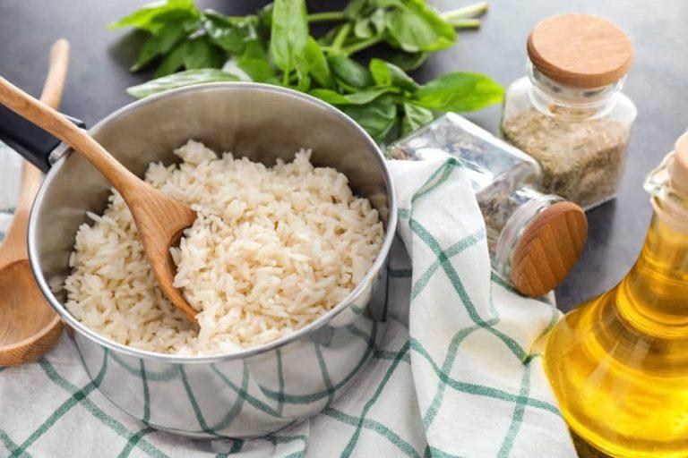 Saucepan with boiled rice