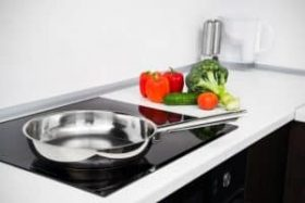 Frying pan and vegetables in modern with induction stove