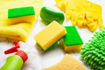 cleaning products household sponge cloth gloves spray bottle