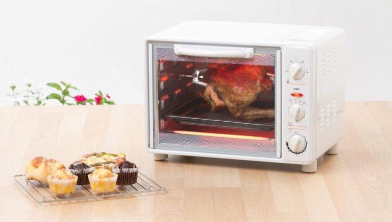 chicken on rotisserie in toaster oven