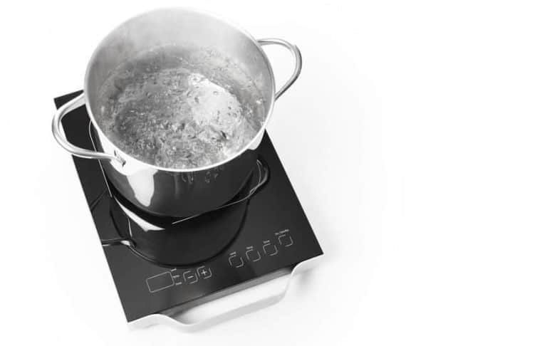 Portable induction cooktop and frying pan on white background