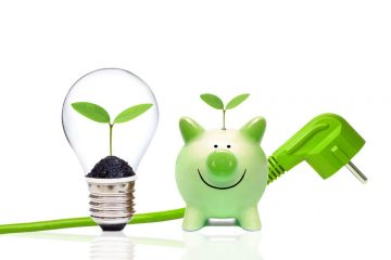 A green plug with green piggy bank and a light bulb with small green plants / Green energy and saving environment concept