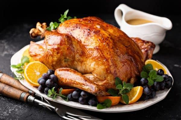 Festive celebration roasted turkey with gravy