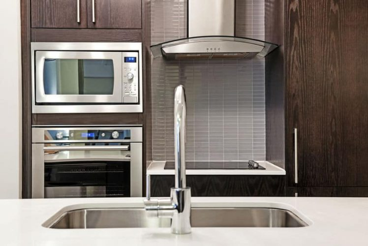 built-in microwave oven in cabinet
