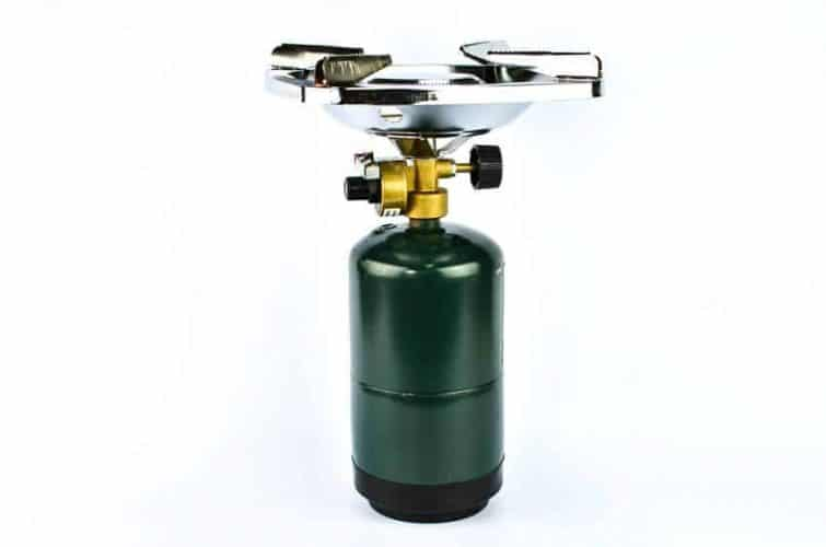 camping stove with propane gas cylinder