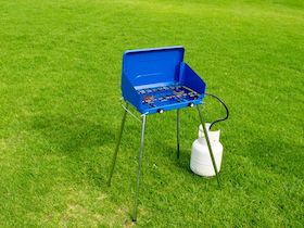 Freestanding two burner propane camping stove