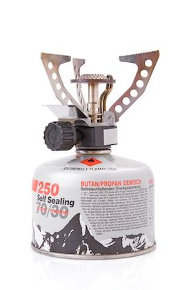 small compact backpacking stove with butane propane gas canister