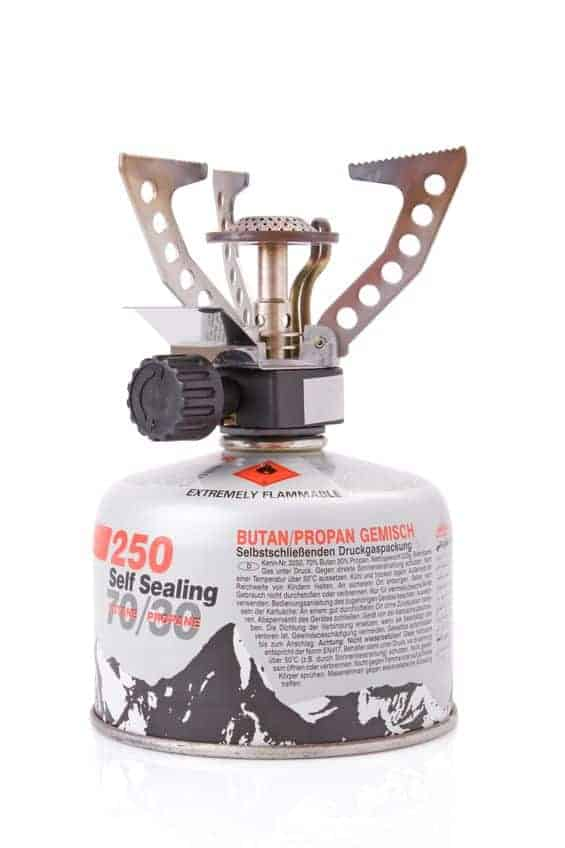 portable camping stove with a butane propane gas canister